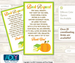 Request a Book Instead of a Card for Neutral Pumpkin Baby Shower or Birthday, Printable Book DIY Tickets, Chevron,Green Orange