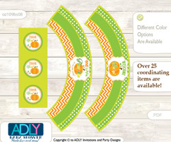 Printable Neutral Pumpkin Cupcake, Muffins Wrappers plus Thank You tags for Baby Shower Green Orange, Chevron