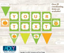 Personalized Neutral Pumpkin Printable Banner for Baby Shower, Green Orange, Chevron