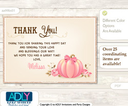 Pumpkin Thank you Printable Card with Name Personalization for Baby Shower or Birthday Party