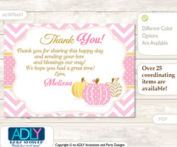 Pumpkin Thank you Printable Card with Name Personalization for Baby Shower or Birthday