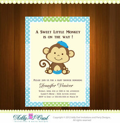 Personalized Boy Monkeys Baby Shower Printable DIY party invitation - ONLY digital file - you print