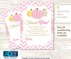 Girl  Pumpkin Thank you Cards for a Baby Girl Shower or Birthday DIY Pink, Chevron