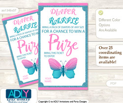 Pink Butterfly Diaper Raffle Printable Tickets for Baby Shower, Turquoise, Glitter