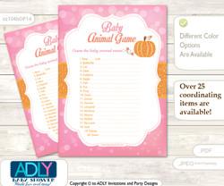 Printable Girl Pumpkin Baby Animal Game, Guess Names of Baby Animals Printable for Baby Pumpkin Shower, Pink, Orange