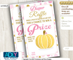 Gold Pumpkin Diaper Raffle Printable Tickets for Baby Shower, Pink, Polka