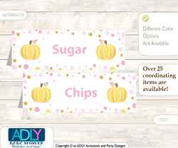 Printable Gold Pumpkin Buffet Tags or Food Tent Labels  for a Baby Shower or Birthday , Pink, Polka