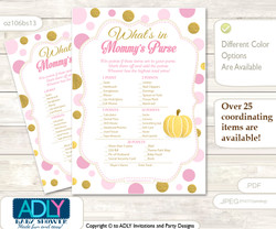 Gold Pumpkin What is in Mommy's Purse, Baby Shower Purse Game Printable Card , Pink,  Polka