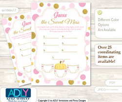Gold Pumpkin Dirty Diaper Game or Guess Sweet Mess Game for a Baby Shower Pink, Polka