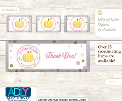 Gold Pumpkin Chocolate Bar Wrapper and Nuggets Candy Wrapper Label for Baby Gold Shower  Pink , Polka