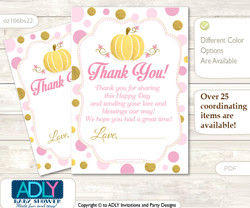 Gold  Pumpkin Thank you Cards for a Baby Gold Shower or Birthday DIY Pink, Polka