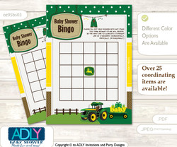 Printable green Yellow Tractor Bingo Game Printable Card for Baby Boy Shower DIY grey, green Yellow, Farm