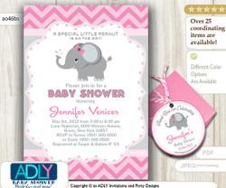 Pink Grey Elephant Invitation for Baby Shower, FREE Elephant Thank You Favor TAG, Printable invitation girl, chevron, pink, grey