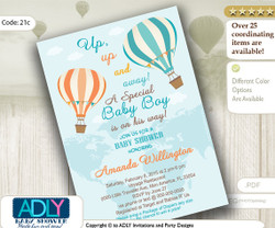 Pastel Turquoise Peach Hot Air Balloon Boy Baby Shower Invitation,Oh the Places You'll Go, Travel, Vintage, Up and Away, Little Boy