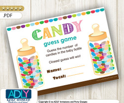 Guess Candy Printable Game Card, Guess How Many Candies in the baby bottle, how many candies game, suitable for all themes,neutral