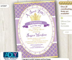 Lavender Gold Princess Invitation for Royal Baby Shower, purple, golden crown, a Sweet Little Princess is on her way