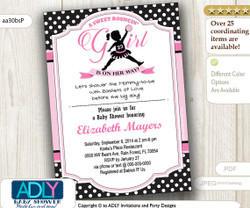 A Sweet Bouncin' Girl Invitation in pink and Black,Air Jordan inspired baby shower in black, soft pink, polka dots- digital file