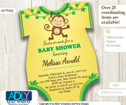 Yellow Green Monkey Onesie Invitation with Little Monkey for a Boy Shower, monkey oneies invite, brown lime,jungle diy print home