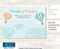 Coral Teal Neutral Air Balloon Words of Wisdom or an Advice Printable Card for Baby Shower, Up and Away