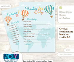 Neutral Air Balloon Wishes for a Baby, Well Wishes for a Little Air Balloon Printable Card, Up and Away, Coral Teal