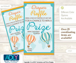 Neutral Air Balloon Diaper Raffle Printable Tickets for Baby Shower, Coral Teal, Up and Away