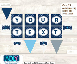 Personalized Boy Bowtie Printable Banner for Baby Shower, Blue Grey, Polka