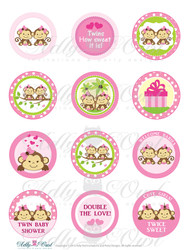 Pink TWIN Girl Monkey Baby Shower Cupcake Toppers or Favor Tags Printables DIY, it's a girl twin shower tags - ONLY digital file - you print