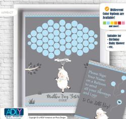 Boy Lamb Guest Book Alternative for a Baby Shower, Creative Nursery Wall Art Gift, Blue Grey, Polka