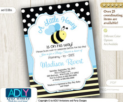 Baby Blue Bee Invitation for Boy Shower - black, yellow, blue.