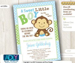 Green Blue Boy Monkey Invitation for Baby Shower,Polka Pattern. A Sweet Little Monkey is on his way, swing on over, baby blue,lime- ao120bs