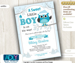 Winter Owl Baby Shower Invitation card for a Boy Baby Shower, A sweet Little Boy is on his way, grey, christmas, turquoise,teal- aa40bs