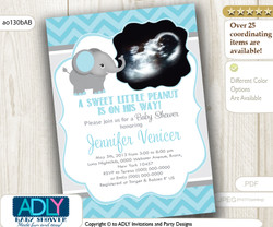 Mint/Light Turquoise Grey Elephant Ultrasound Photo Baby Shower invitation for a Boy, chevron