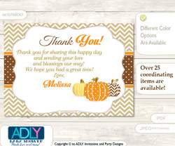 Boy Pumpkin Thank you Printable Card with Name Personalization for Baby Shower