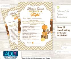 Printable Boy Pumpkin Price is Right Game Card for Baby Pumpkin Shower, Orange Brown, Chevron