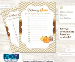 Boy Pumpkin Memory Game Card for Baby Shower, Printable Guess Card, Orange Brown, Chevron