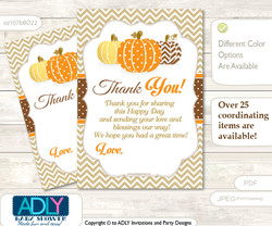 Boy  Pumpkin Thank you Cards for a Baby Boy Shower or Birthday DIY Orange Brown, Chevron