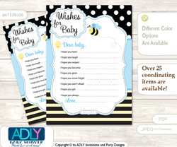 Boy Bee Wishes for a Baby, Well Wishes for a Little Bee Printable Card, Honey, Black Blue