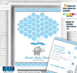Guest Book Alternative for a Baby Shower, Creative Nursery Wall Art Gift, Blue Grey, Chevron