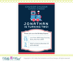 Birthday Train Printable Invitation for a boy,  DIY Train invite, choo, second birthday, first birthday- ONLY digital file - you print