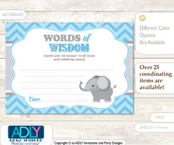 Grey Boy Elephant Words of Wisdom or an Advice Printable Card for Baby Shower, Chevron