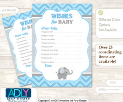 Boy Elephant Wishes for a Baby, Well Wishes for a Little Elephant Printable Card, Chevron, Grey Blue