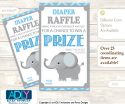Boy Elephant Diaper Raffle Printable Tickets for Baby Shower, Grey Blue , Chevron