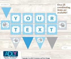 Personalized Boy Elephant Printable Banner for Baby Shower, Grey Blue , Chevron