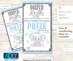 Snowflake Elephant Diaper Raffle Printable Tickets for Baby Shower, Grey Blue, Winter