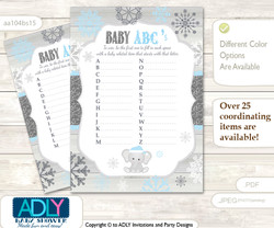 Snowflake Elephant Baby ABC's Game, guess Animals Printable Card for Baby Elephant Shower DIY –Winter