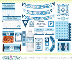 Royal Little Prince Baby Shower Extended Printable Party Kit with blue prince crown,diaper raffle,tags- ONLY digital file - you print ao28