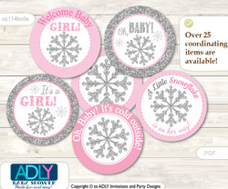 Baby Shower Girl Snowflake Cupcake Toppers Printable File for Little Girl and Mommy-to-be, favor tags, circle toppers, Winter, Pink Grey