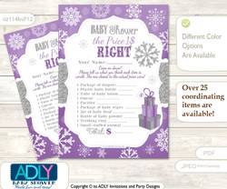 Printable Girl Snowflake Price is Right Game Card for Baby Snowflake Shower, Purple Grey, Winter