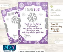 Girl  Snowflake Thank you Cards for a Baby Girl Shower or Birthday DIY Purple Grey, Winter