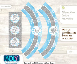 Printable Boy Snowflake Cupcake, Muffins Wrappers plus Thank You tags for Baby Shower Blue Grey, Silver